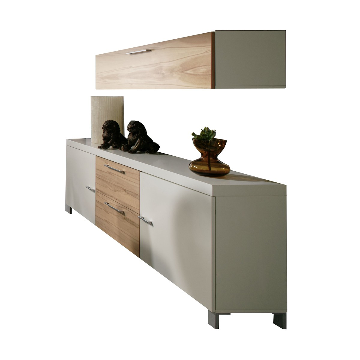 sideboard anrichte kommode mit h ngeschrank modern kernbuche wei neu ebay. Black Bedroom Furniture Sets. Home Design Ideas