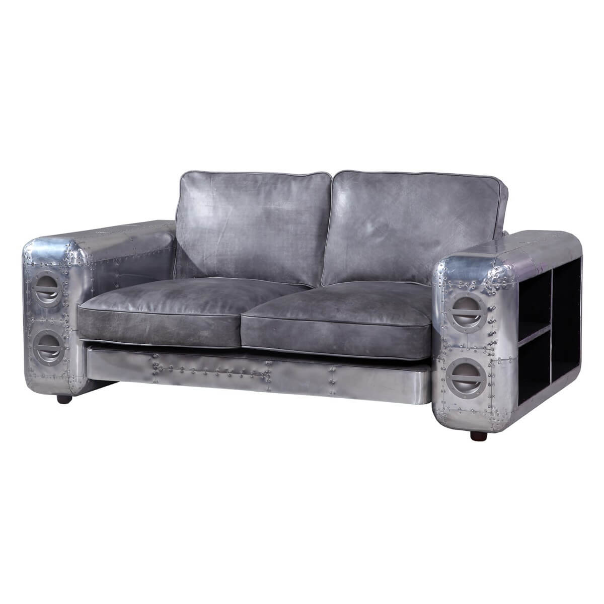 Designsofa ledersofa designercouch 2 sitzer metall echt leder silber neu ebay 2 sitzer sofa leder