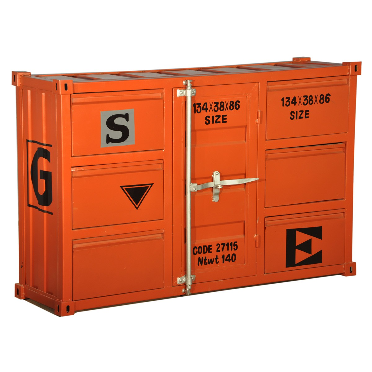 ts ideen kommode schrank roll container shabby orange gelb industrie design 105 x 44 cm mit. Black Bedroom Furniture Sets. Home Design Ideas