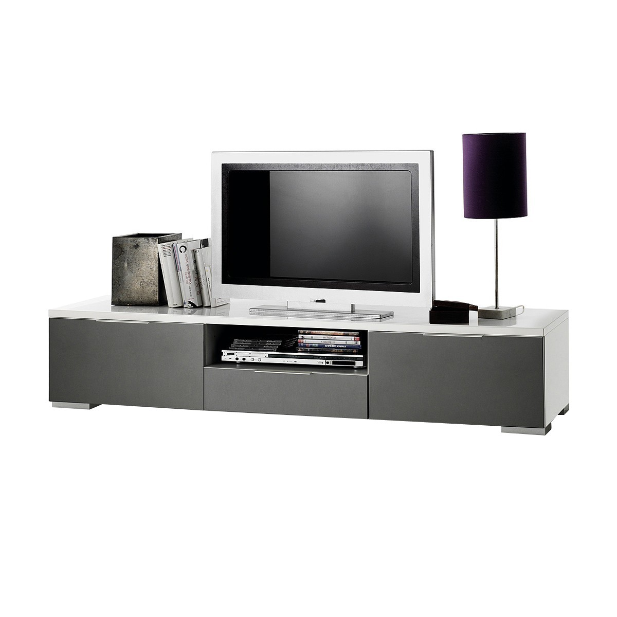 lowboard viva 180cm in wei hochglanz lack grau. Black Bedroom Furniture Sets. Home Design Ideas