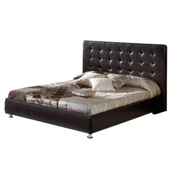 polsterbett doppelbett bett 180x200 cm kunstleder braun. Black Bedroom Furniture Sets. Home Design Ideas