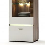 vitrine vitrinenschrank schrank 1trg in wei hochglanz nussbaum ebay. Black Bedroom Furniture Sets. Home Design Ideas