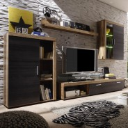 wohnwand anbauwand schrankwand in nussbaum dunkelbraun ebay. Black Bedroom Furniture Sets. Home Design Ideas