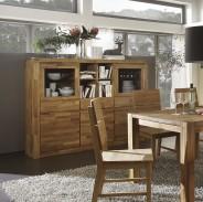 vitrinenschrank highboard anrichte in kerneiche massiv ge lt neu ebay. Black Bedroom Furniture Sets. Home Design Ideas