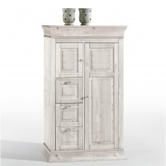 Brotschrank Boston in Kiefer Massivholz weiß