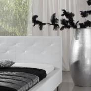 polsterbett kunstlederbett bett 140x200 in wei mit. Black Bedroom Furniture Sets. Home Design Ideas