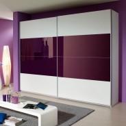 schwebet renschrank kleiderschrank schrank schlafzimmer mit glas in wei lila. Black Bedroom Furniture Sets. Home Design Ideas