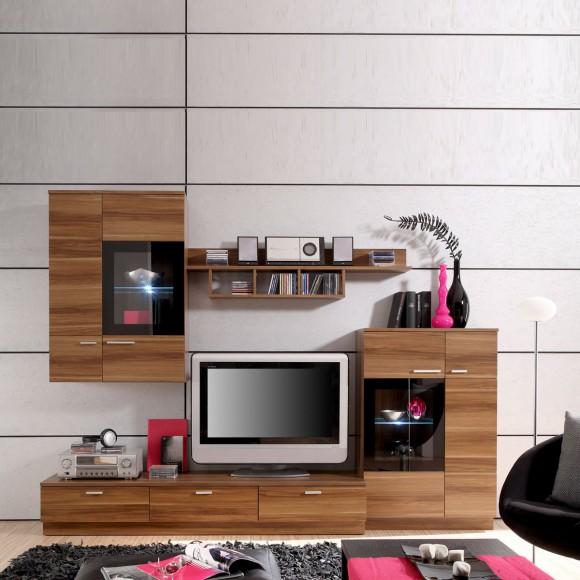 wohnwand lana in kernnussbaum glas schwarz. Black Bedroom Furniture Sets. Home Design Ideas