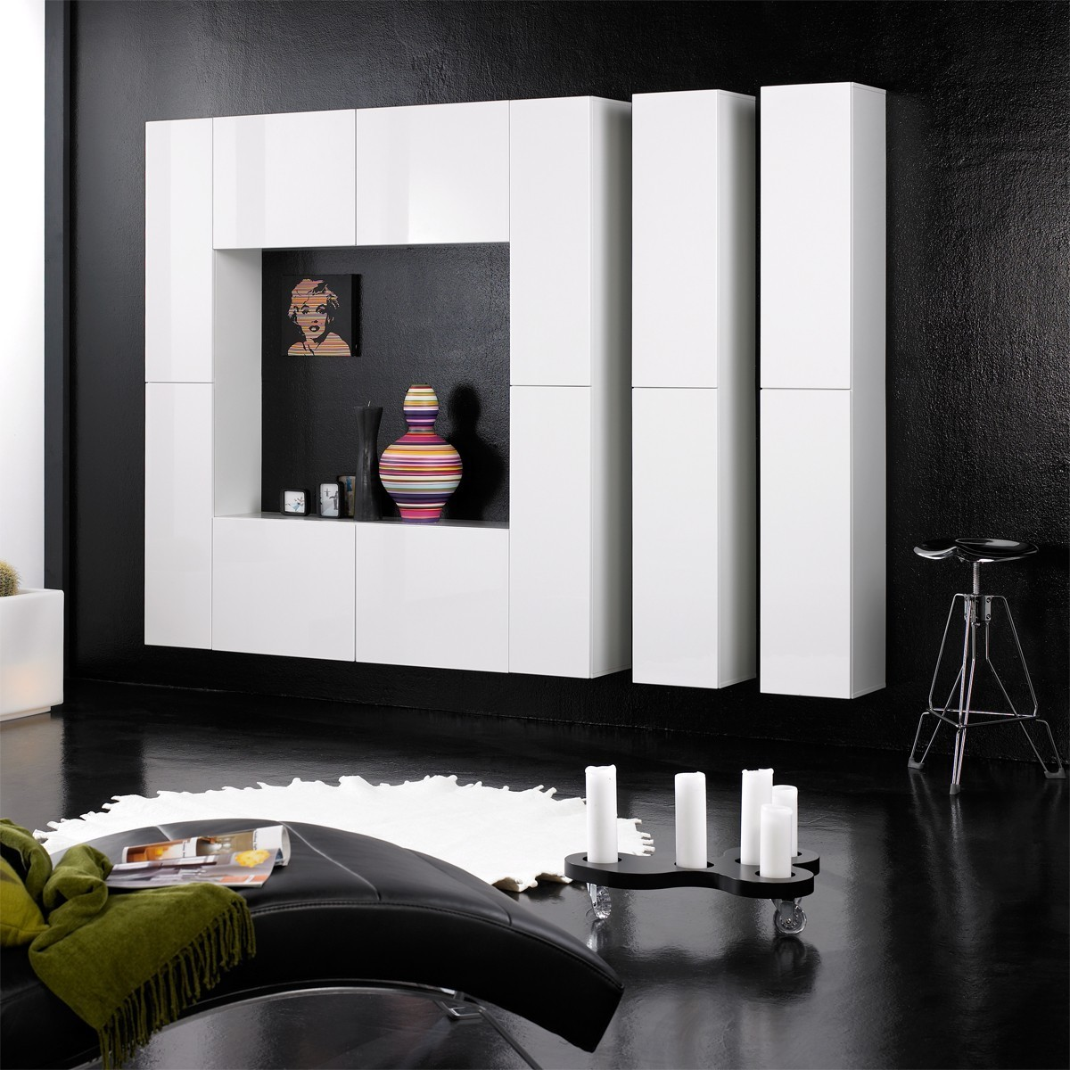 design wohnwand schrankwand anbauwand monaco wei hochglanz modern viel platz ebay. Black Bedroom Furniture Sets. Home Design Ideas