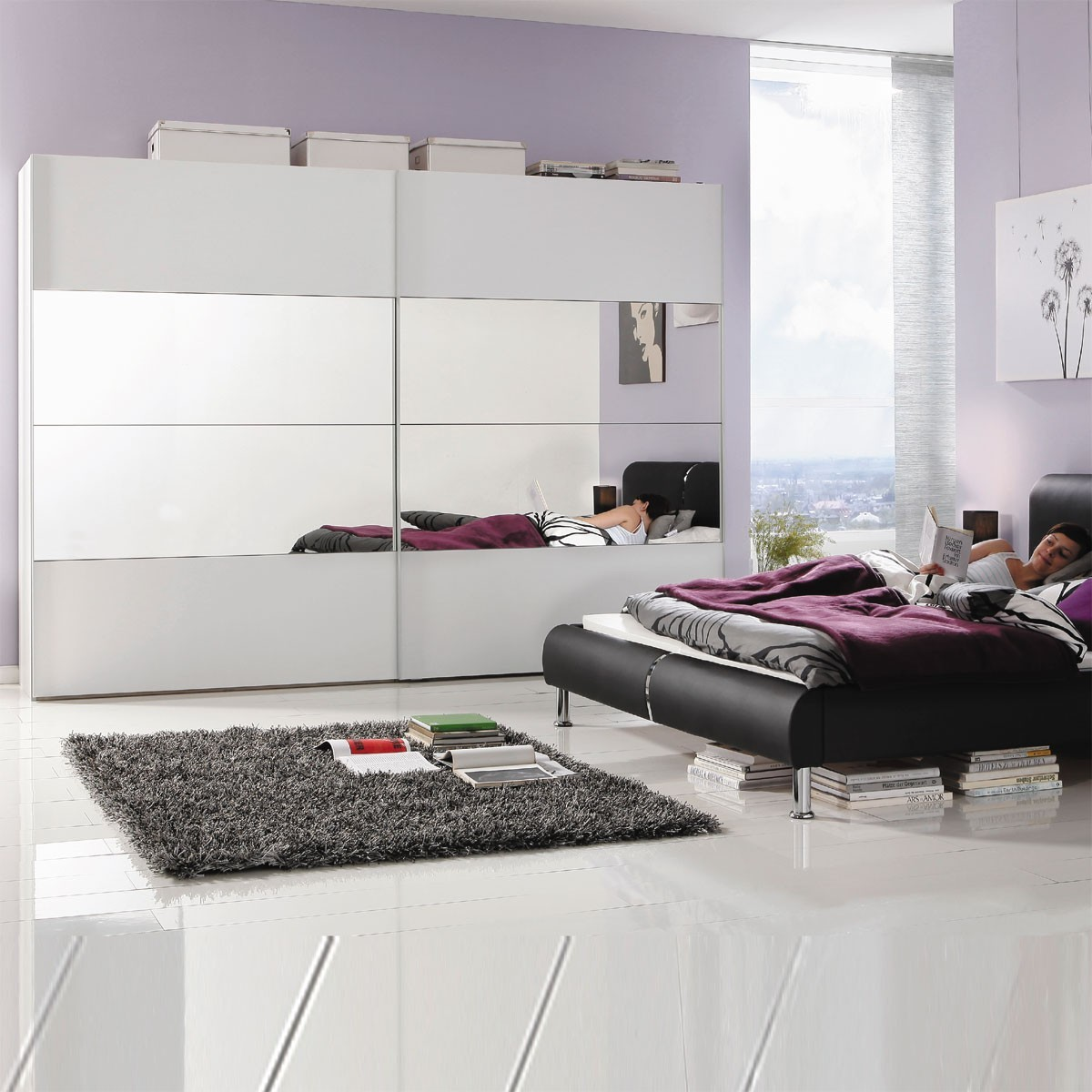schwebet renschrank kleiderschrank schlafzimmer in wei. Black Bedroom Furniture Sets. Home Design Ideas