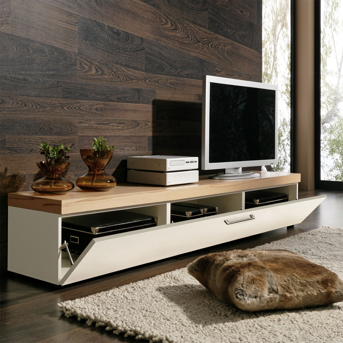 lowboard tv lowboard tv board tv rack in kernbuche und weiss ebay. Black Bedroom Furniture Sets. Home Design Ideas