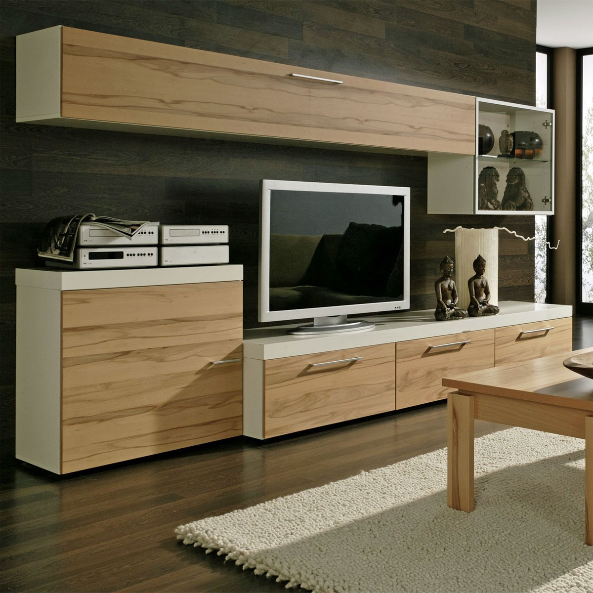 wohnwand modern echtholz interessante ideen. Black Bedroom Furniture Sets. Home Design Ideas
