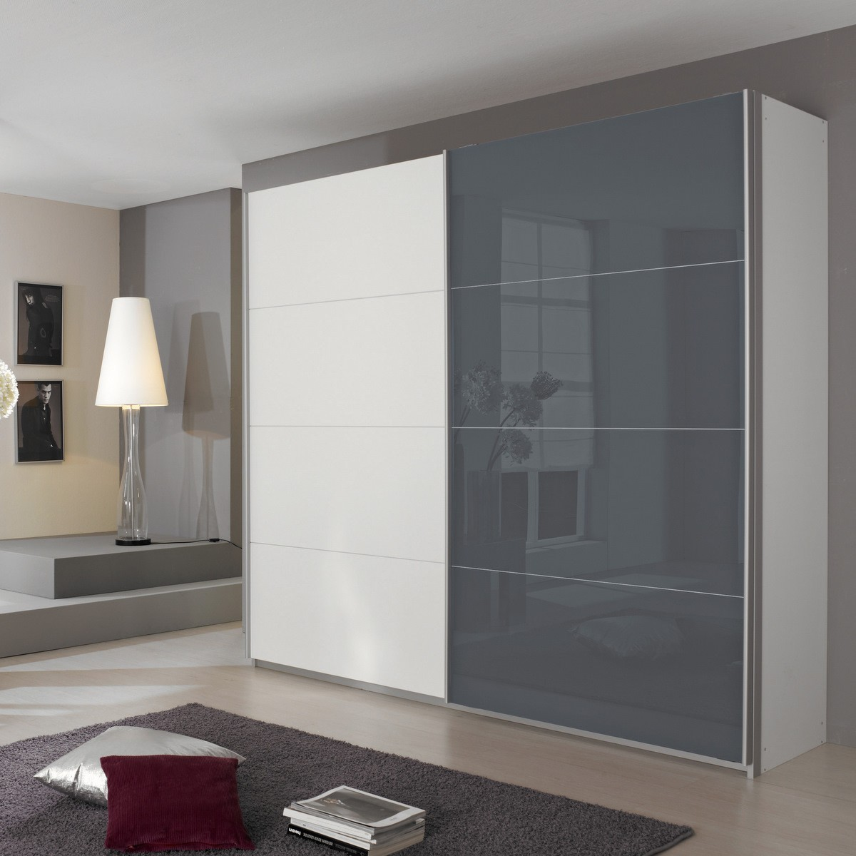 schwebet renschrank quadra wei glas grau 271 cm ebay. Black Bedroom Furniture Sets. Home Design Ideas