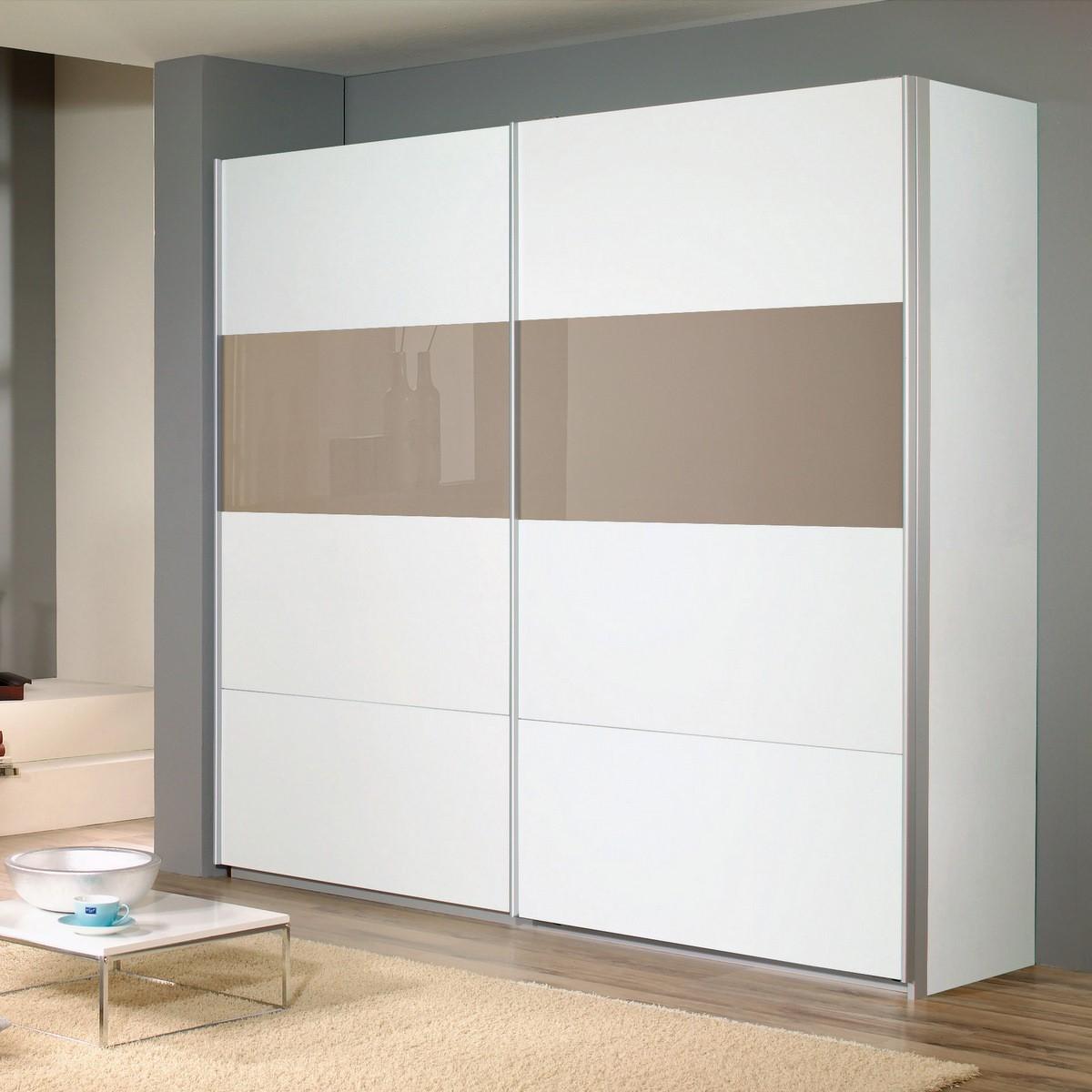 Schwebetürenschrank Quadra Weiß / Braunglas 136 cm | eBay
