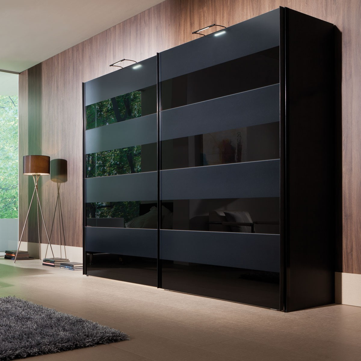 schwebet renschrank kleiderschrank boston schwarz glas schwarz matt glossy ebay. Black Bedroom Furniture Sets. Home Design Ideas