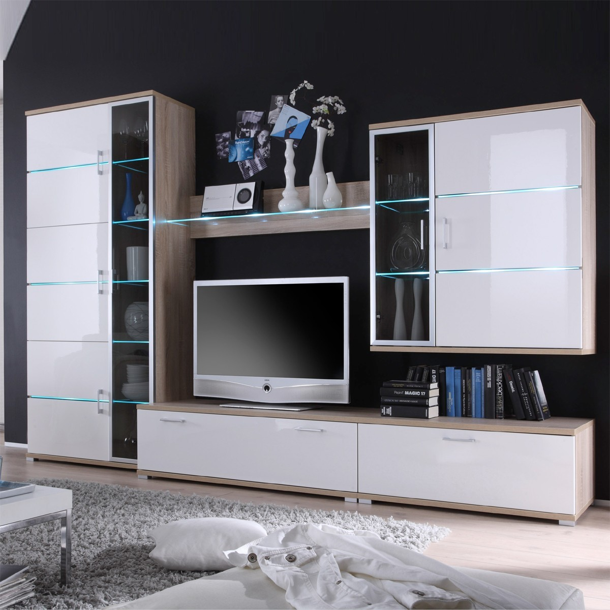 wohnwand schrankwand anbauwand in eiche wei hochglanz 300 cm breit. Black Bedroom Furniture Sets. Home Design Ideas