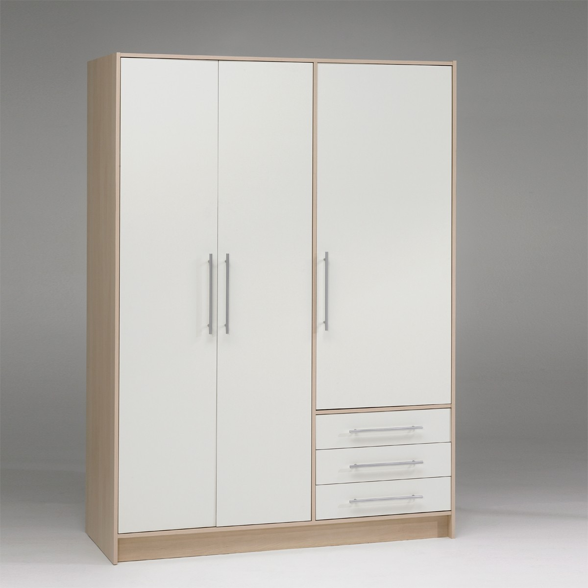 kleiderschrank schrank in wei ahorn hell nachbildung 145 cm breit ebay. Black Bedroom Furniture Sets. Home Design Ideas