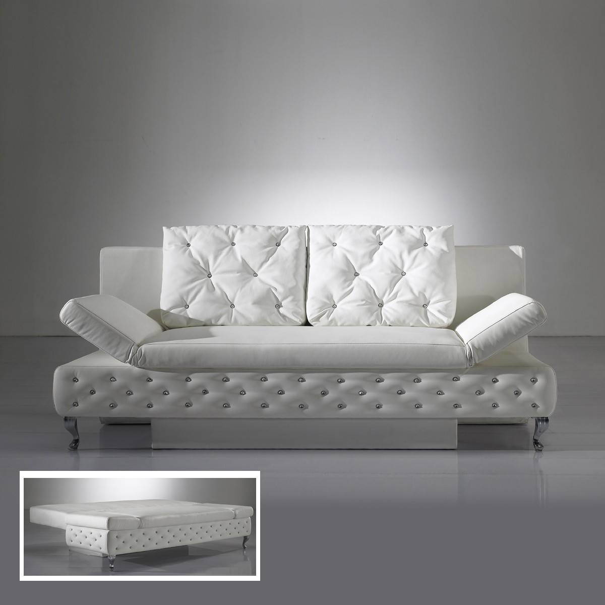 schlafcouch schlafsofa sofa rokkoko in wei 201cm breit ebay. Black Bedroom Furniture Sets. Home Design Ideas