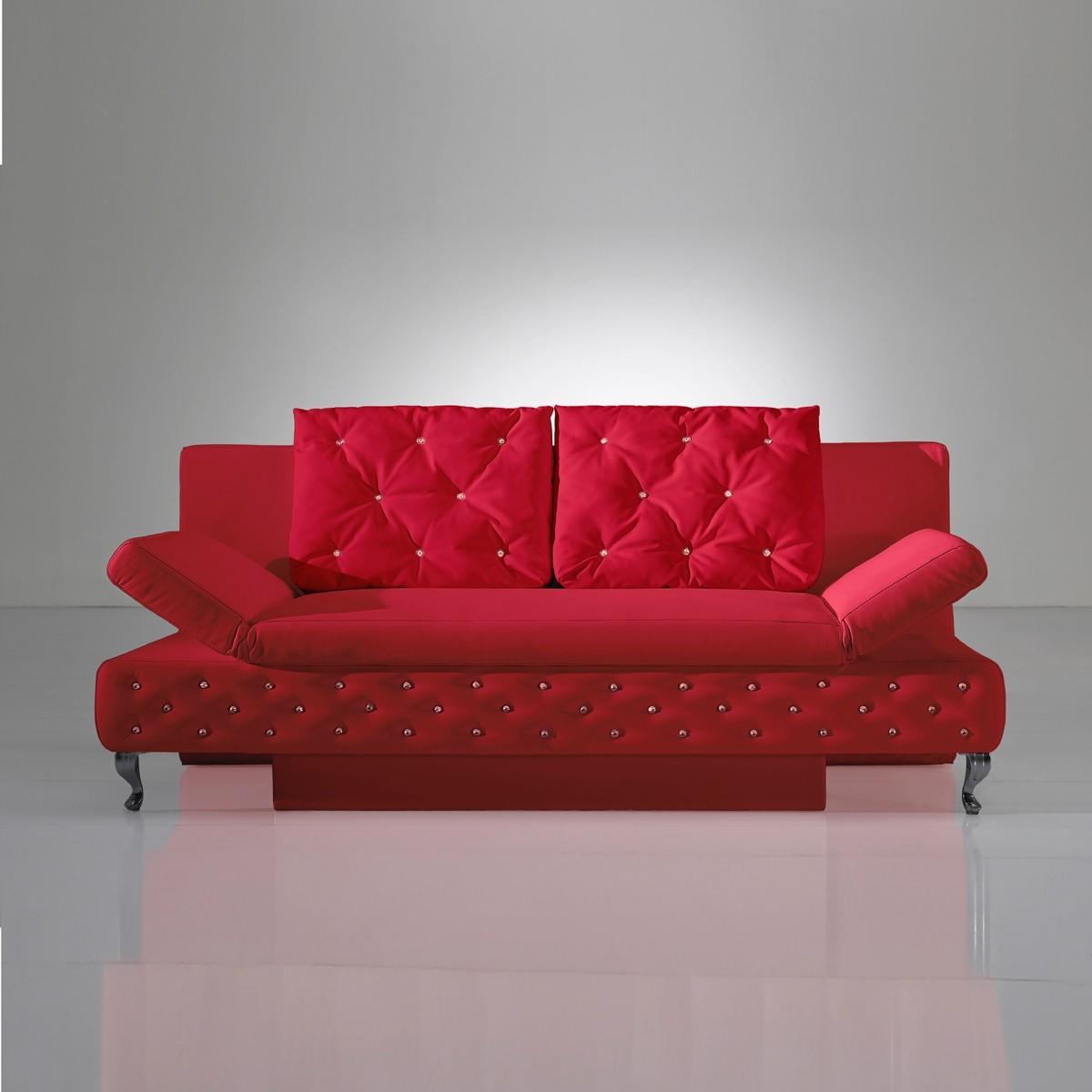Schlafcouch schlafsofa sofa rokkoko in kunstleder rot for Sofa schlafcouch
