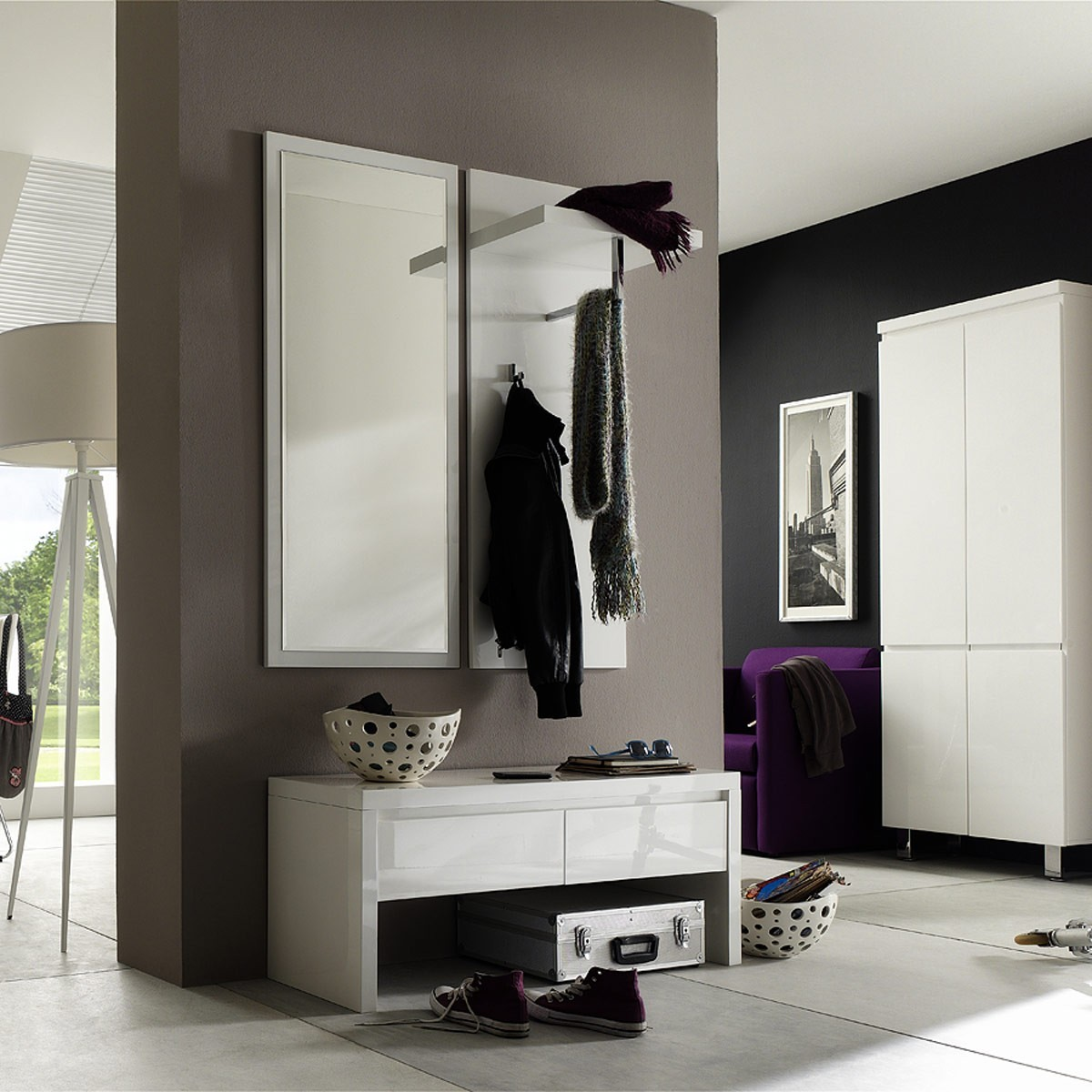 garderobenbank bank flur diele flurbank modern in hochglanz wei ebay. Black Bedroom Furniture Sets. Home Design Ideas