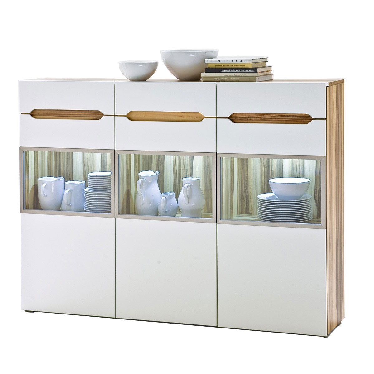 highboard schrank kommode in creme wei baltimore walnuss 165cm breit ebay. Black Bedroom Furniture Sets. Home Design Ideas