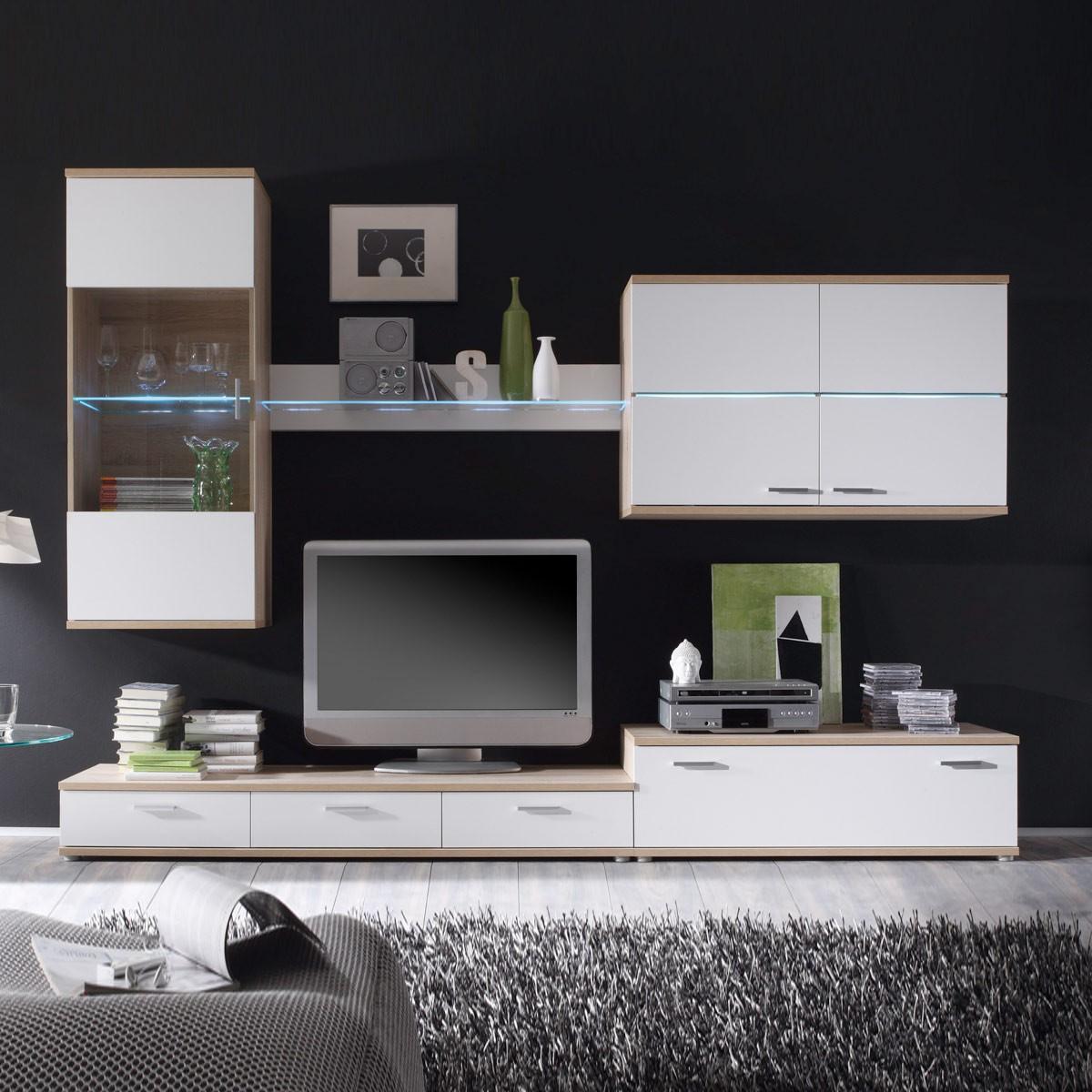 wohnwand sonoma eiche nachbildung wei interessante ideen f r die gestaltung. Black Bedroom Furniture Sets. Home Design Ideas