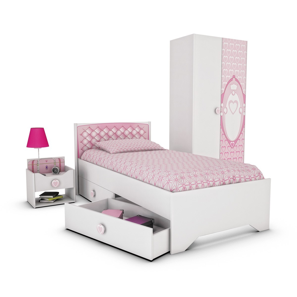 jugendbett m dchenbett bett prinzessin 90x190cm in wei pink ebay. Black Bedroom Furniture Sets. Home Design Ideas