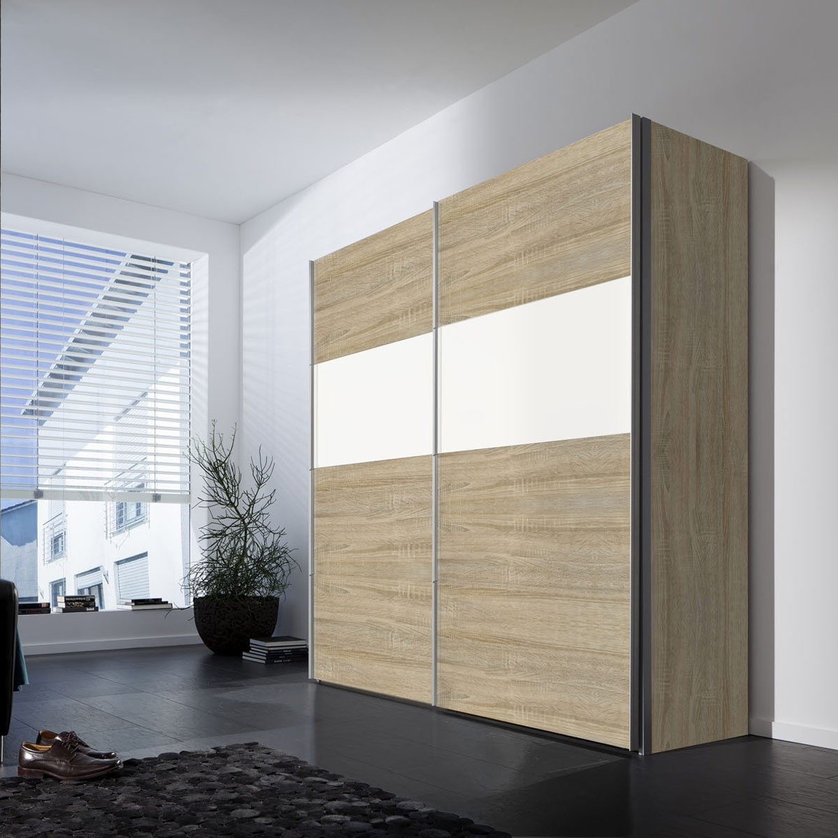 schwebet renschrank calibra sonoma eiche wei glas ebay. Black Bedroom Furniture Sets. Home Design Ideas