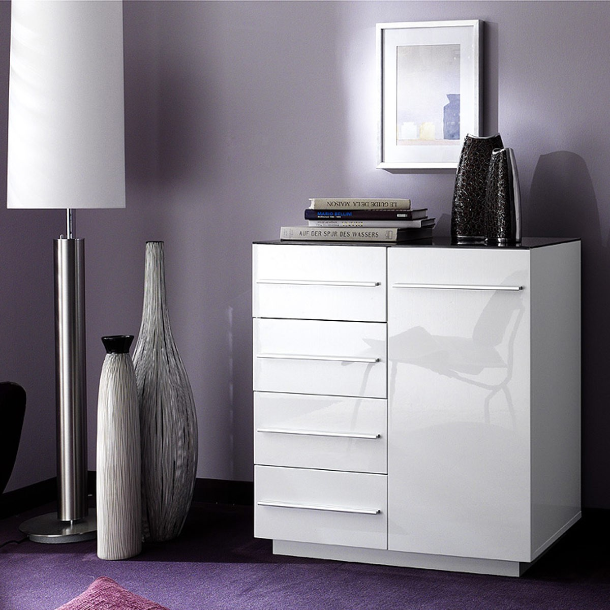 kommode anrichte sideboard schrank modern hochglanz wei. Black Bedroom Furniture Sets. Home Design Ideas