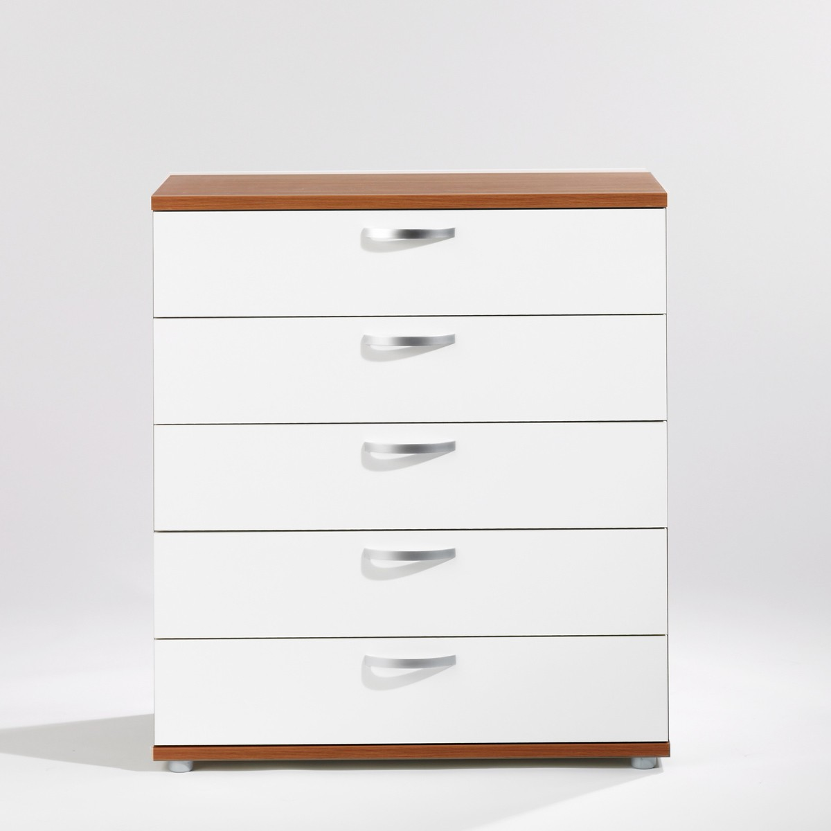 kommode schubladenkommode anrichte sideboard mit 5 schubladen in nussbaum weiss ebay. Black Bedroom Furniture Sets. Home Design Ideas