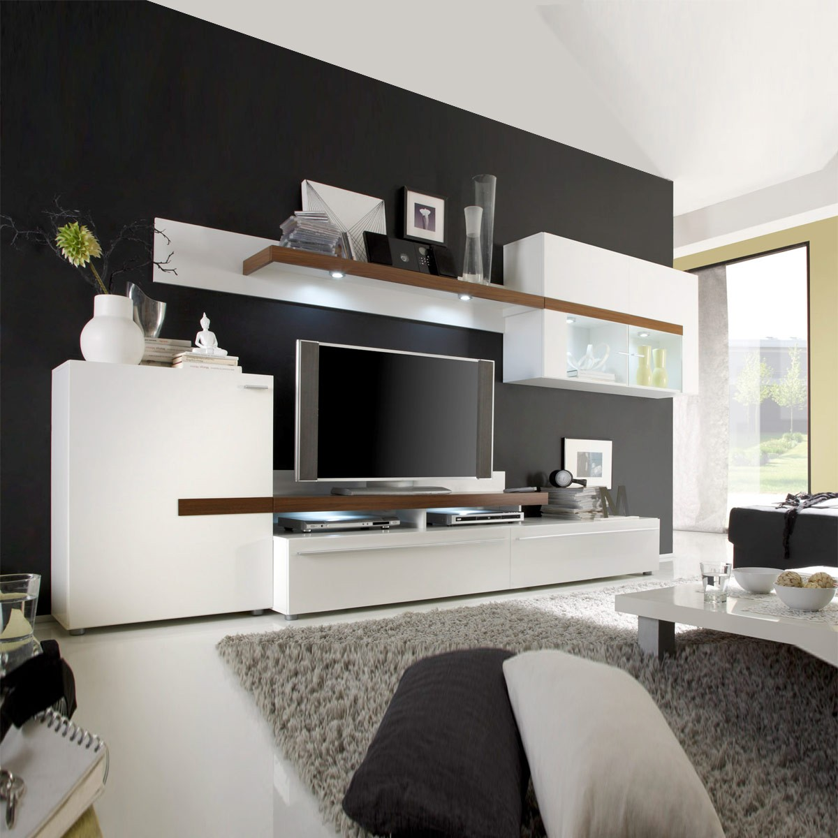 wohnwand anbauwand tiamo in wei walnuss ebay. Black Bedroom Furniture Sets. Home Design Ideas