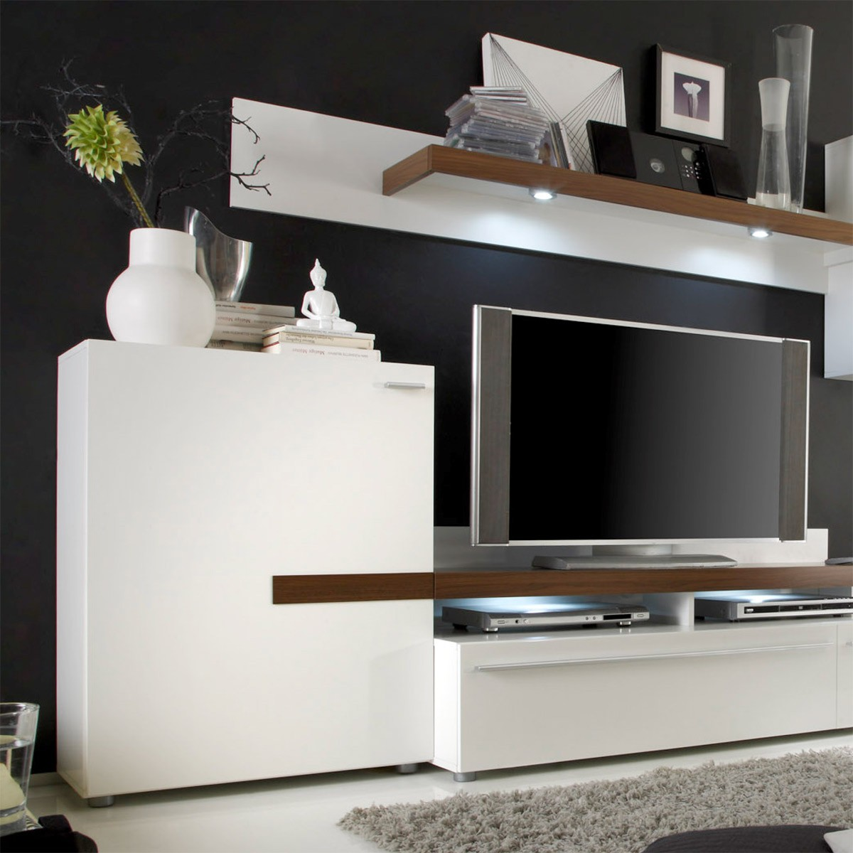 wohnwand wei modern haus design ideen. Black Bedroom Furniture Sets. Home Design Ideas