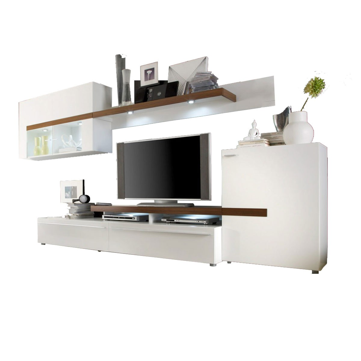 wohnwand anbauwand schrankwand gogo in wei walnuss 339cm breit ebay. Black Bedroom Furniture Sets. Home Design Ideas