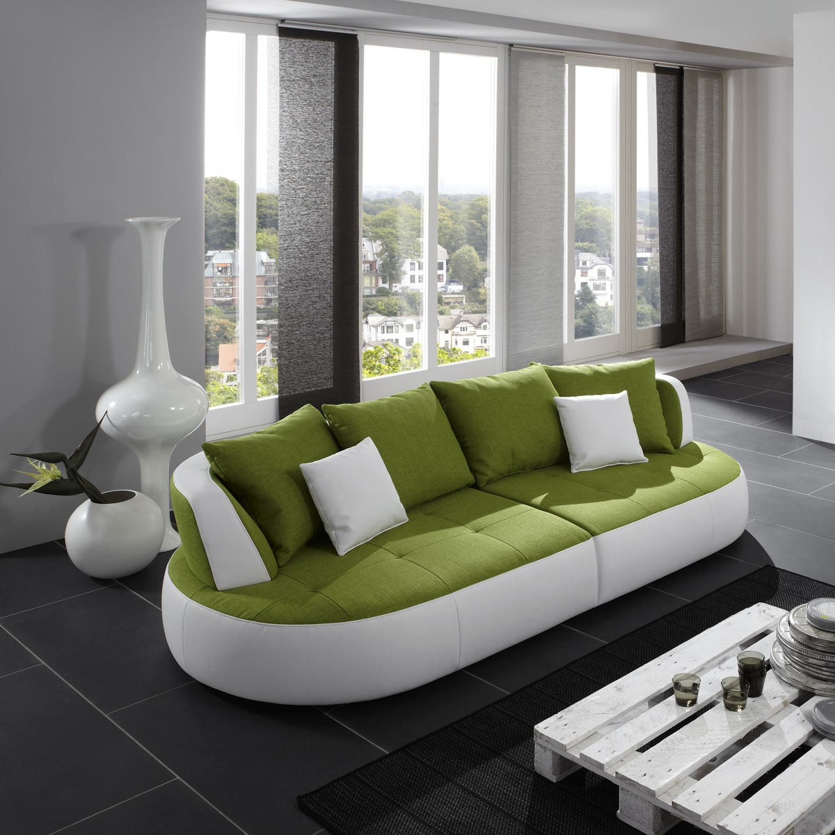 ultrasofa bigsofa xxl sofa megasofa kunstleder und stoff in wei gr n ebay. Black Bedroom Furniture Sets. Home Design Ideas