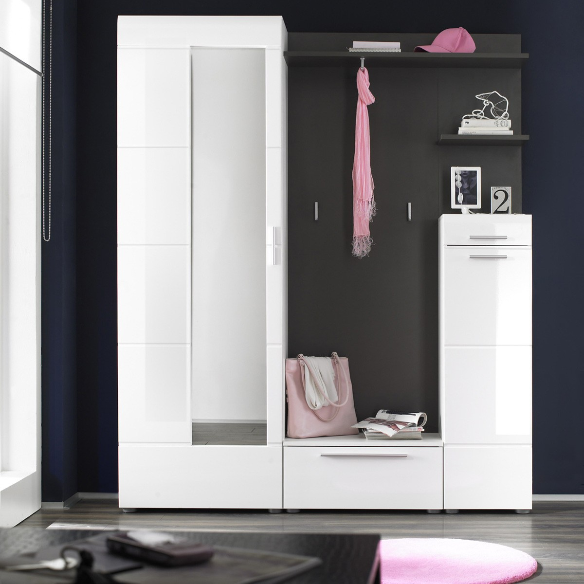 garderobe 5 teilig garderoben set garderobe modern in wei anthrazit ebay. Black Bedroom Furniture Sets. Home Design Ideas