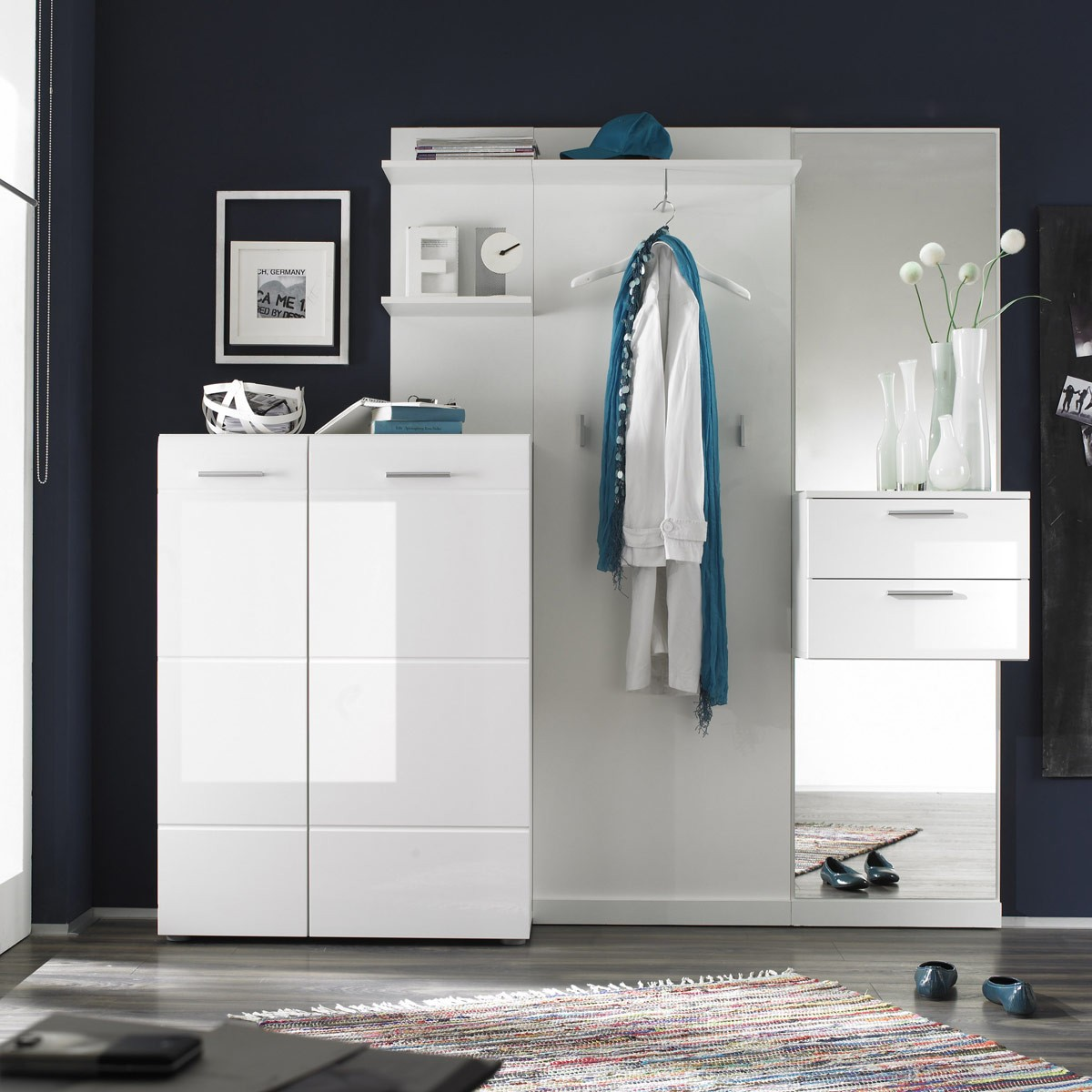 garderobe 4 teilig garderoben set garderobe modern in wei hochglanz wei ebay. Black Bedroom Furniture Sets. Home Design Ideas