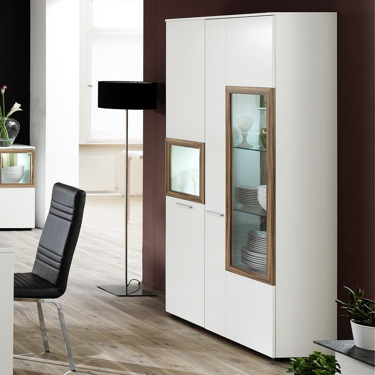 vitrine weiss hochglanz r ckwand schwarz woody 31 00348. Black Bedroom Furniture Sets. Home Design Ideas