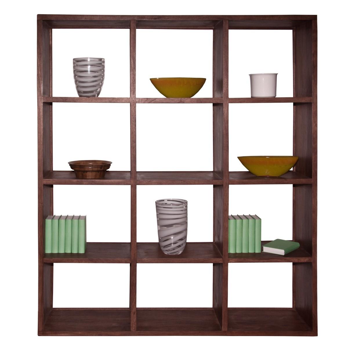 regal raumteiler standregal b cherregal in sheesham massiv 12 f cher neu ebay. Black Bedroom Furniture Sets. Home Design Ideas