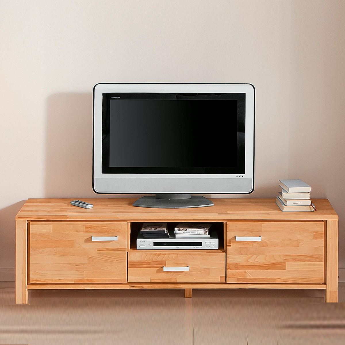 tv lowboard l kernbuche massiv ge lt mit 2 schubk sten smash. Black Bedroom Furniture Sets. Home Design Ideas