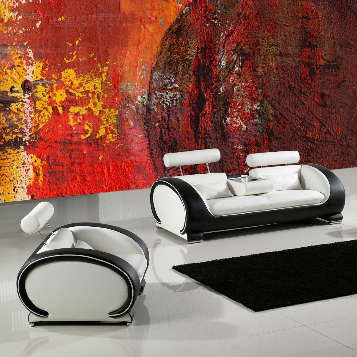 Sessel design modern mit kopfst tze kissen for Wohnung design schwarz weiss