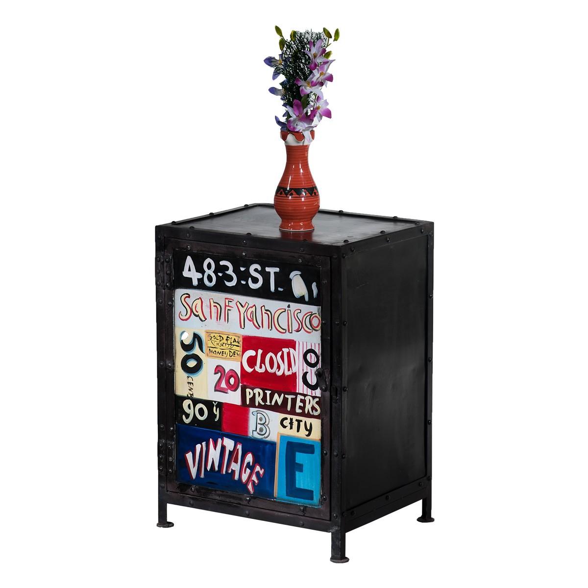 kommode anrichte sideboard mit t r aus metall in schwarz. Black Bedroom Furniture Sets. Home Design Ideas