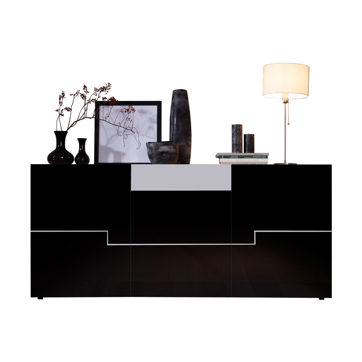 sideboard schwarz hochglanz poco. Black Bedroom Furniture Sets. Home Design Ideas