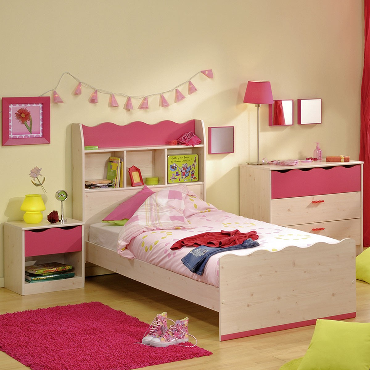 kinderbett m dchenbett bett 90x200 mit regal in kiefer nachbildung pink ebay. Black Bedroom Furniture Sets. Home Design Ideas