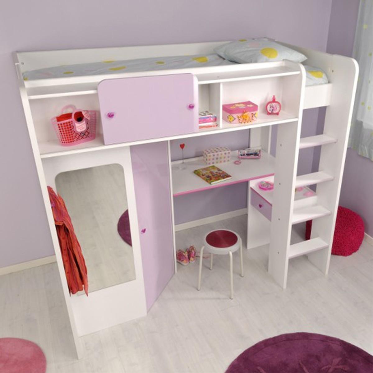 hochbett mit kleiderschrank schreibtisch regal spiegel. Black Bedroom Furniture Sets. Home Design Ideas