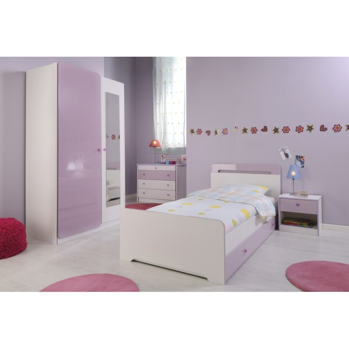 kinderbett jugendbett m dchenbett bett 90x200 wei flieder ebay. Black Bedroom Furniture Sets. Home Design Ideas