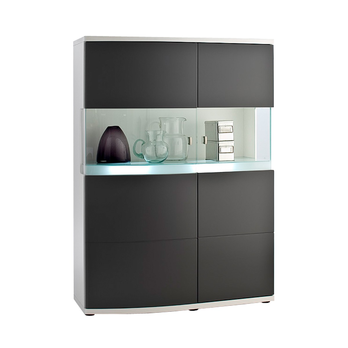 highboard kommode vitrine stauraumelement in weiss und anthrazit ebay. Black Bedroom Furniture Sets. Home Design Ideas