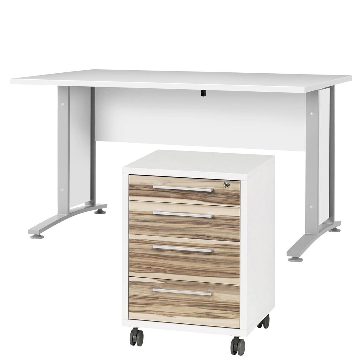 schreibtisch prima mit rollcontainer wei walnuss. Black Bedroom Furniture Sets. Home Design Ideas
