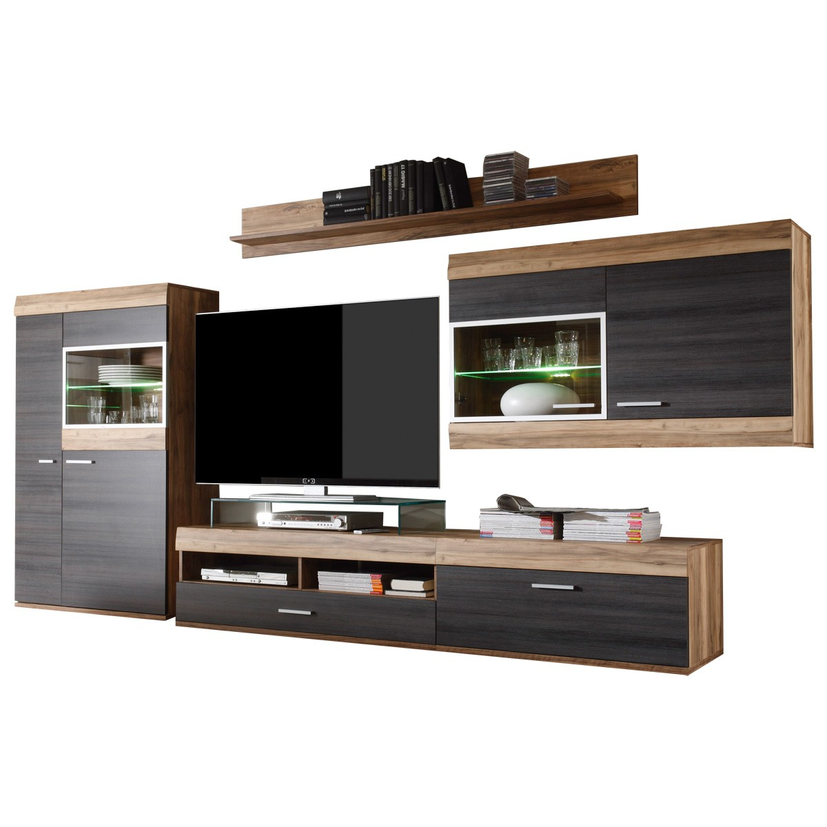 wohnwand anbauwand schrankwand in nu baum satin dunkelbraun. Black Bedroom Furniture Sets. Home Design Ideas