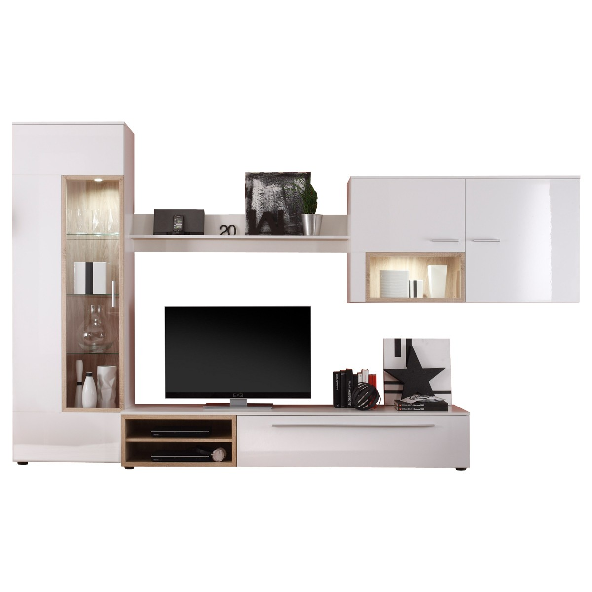 wohnwand anbauwand schrankwand wei hochglanz wei eiche sonoma neu ebay. Black Bedroom Furniture Sets. Home Design Ideas