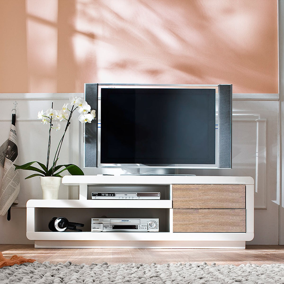 tv lowboard tv board tv rack in hochglanz weiss und eiche sonoma ebay. Black Bedroom Furniture Sets. Home Design Ideas